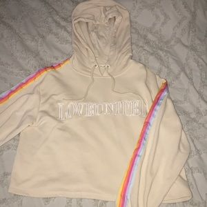 Tan cropped hoodie from Forever 21